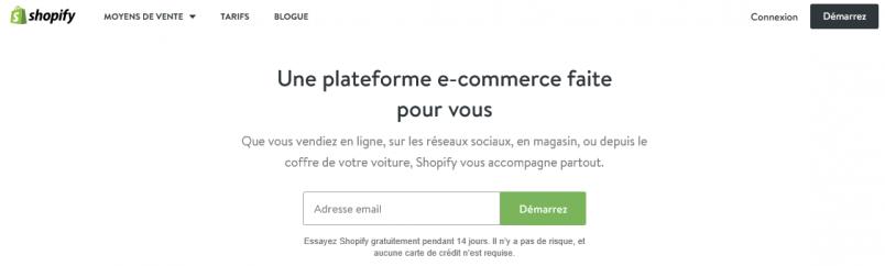 La page d'accueil de Shopify