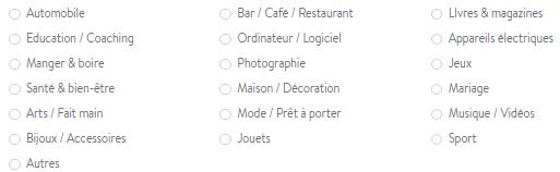 Un choix parmi différents types de boutiques en ligne