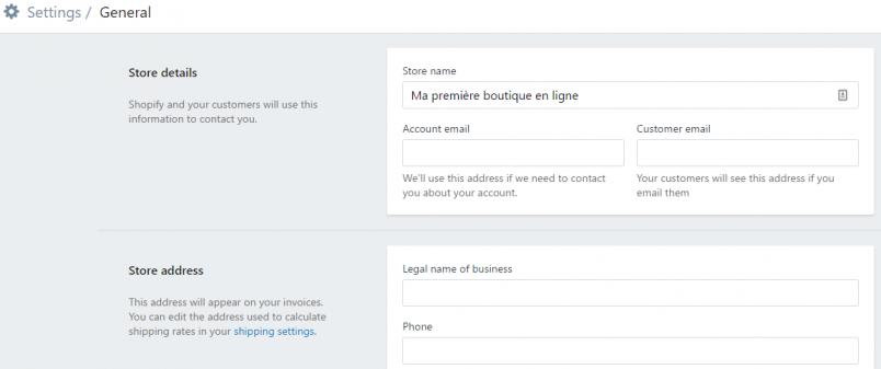 Configuration de votre boutique en ligne avec Shopify
