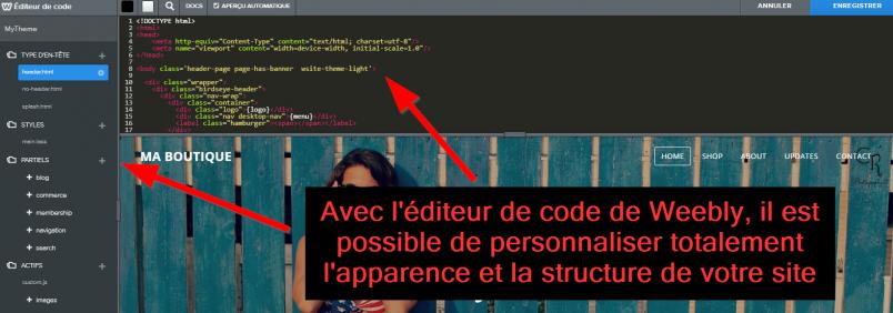 L'éditeur de code HTML et CSS de Weebly