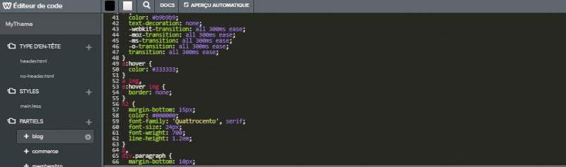 L'éditeur de code proposé par Weebly