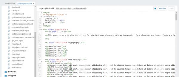 L'édition du code d'un site Shopify avec le langage de programmation liquid