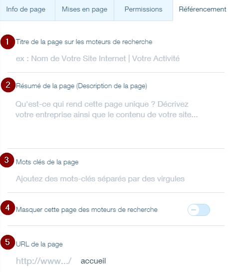 Le référencement d'une page sur Wix