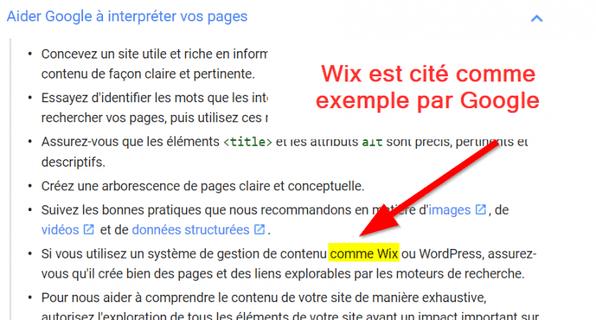 Wix cité comme exemple au sein des consignes aux webmasters de Google