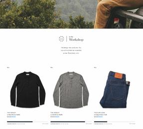 La boutique Taylor Stitch, créée avec Shopify