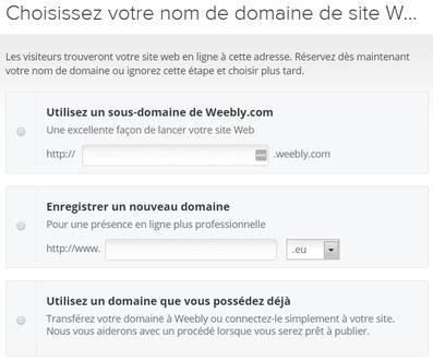 Choix d'un nom de domaine avec Weebly