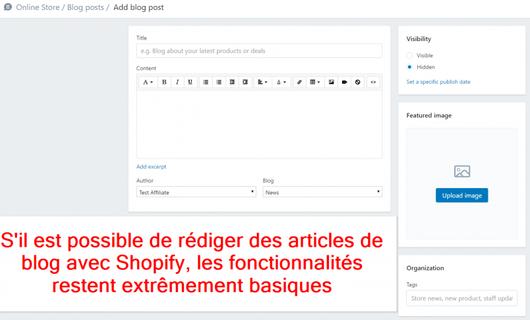 """Mon avis sur les fonctionnalités """"blog"""" de Shopify sont relativement basiques"""