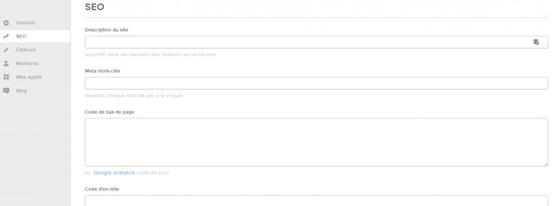 Les paramètres SEO (référéncement) d'un site Weebly