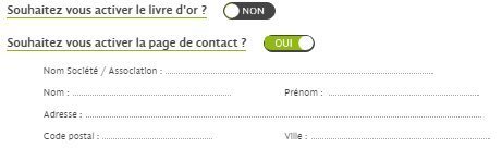 Activation du livre d'or et de la page de contact