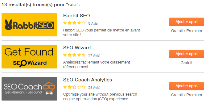 Les applications SEO de Wix