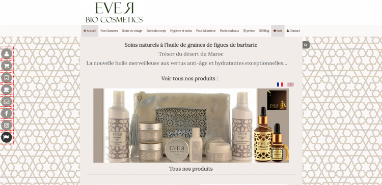 Exemple d'un site cmonsite : Ever Cosmetics