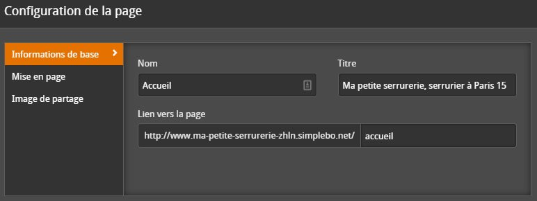 Options de configuration d'une page
