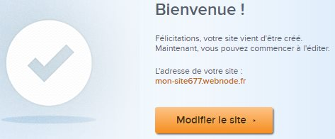 Message de bienvenue Webnode