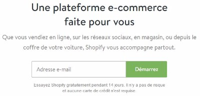 Inscription gratuite sur Shopify