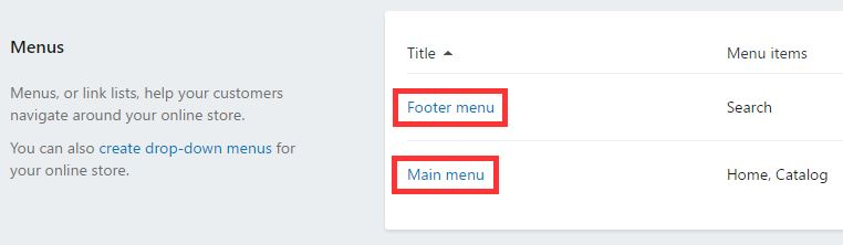 Modification des menus sur Shopify