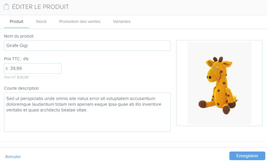 l'édition d'un produit Webnode